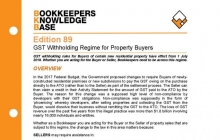 Edition 89 - GST Withholding Regime for Property Buyers