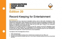 Edition 20 - Record-Keeping for Entertainment